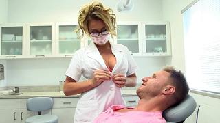 Busty nurse Corinne Blake seducing a patient