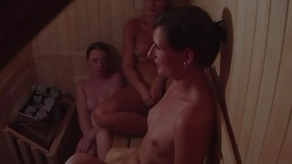 Hidden Cam Catches three Girls in Sauna