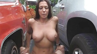 Rachel fucked from an alley to garage