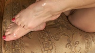 Amateur dick rider Wibeke makes dude stroke his cock and cum on her feet