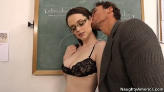 Dirty student Tessa Lane sucks a cock to pass exam